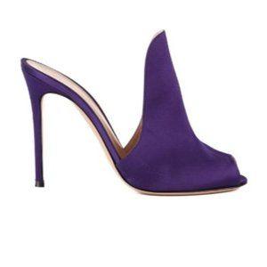 Gianvito Rossi Womens 105 Purple Satin Mule Loafer